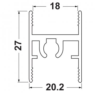 Top aluminium frame profile 18 mm 19496