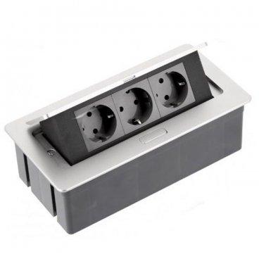 Pinnapealne pistikupesa plokk  3x230V, alumiinium 22815