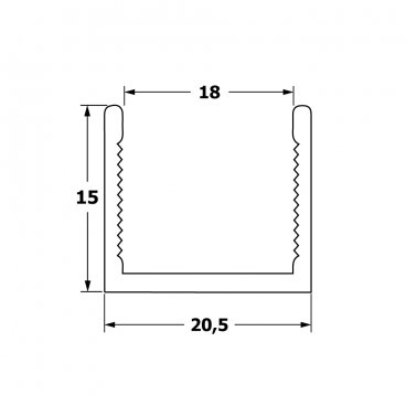 Horizontal aluminium frame profile 18 mm 19511