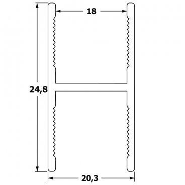 Bar profile for subdividing door panel 18 mm 19514