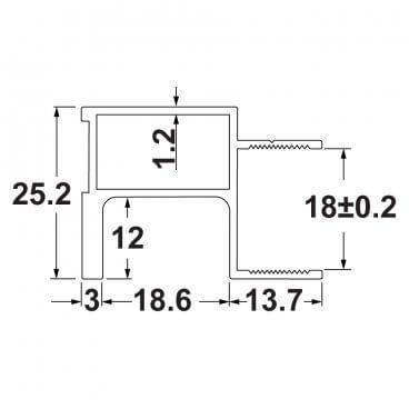 U18 вертикальный профиль 2.9 м 19508